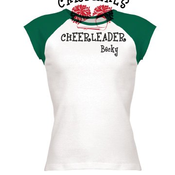 Cheerleader With Pompoms Junior Fit Bella 1x1 Rib Cap Sleeve Raglan Tee