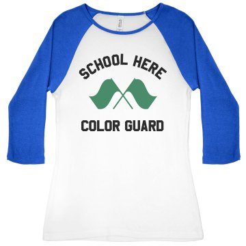 Dublin HS Color Guard Junior Fit Bella 1x1 Rib 3/4 Sleeve Raglan Tee