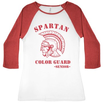 Spartan Color Guard Junior Fit Bella 1x1 Rib 3/4 Sleeve Raglan Tee