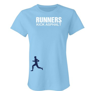 Runners Kick Asphalt Junior Fit Bella Crewneck Jersey Tee
