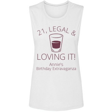 21 & Loving It Birthday Bella Flowy Muscle Tank Top