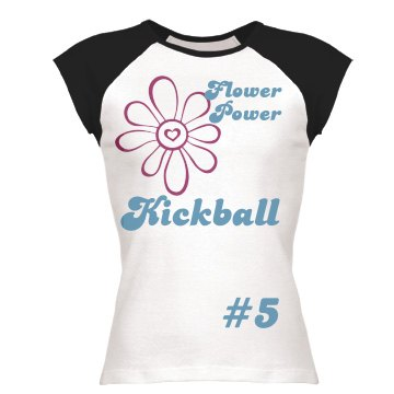 Flower Power Kickball Junior Fit Bella 1x1 Rib Ringer Tee