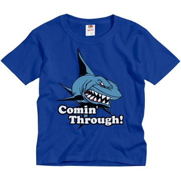 Lil' Shark Comin' Through Youth Gildan Ultra Cotton Crew Neck Tee