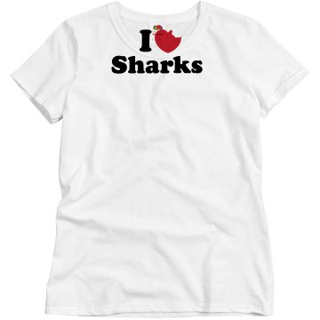 I Love Sharks Misses Relaxed Fit Basic Gildan Ultra Cotton Tee