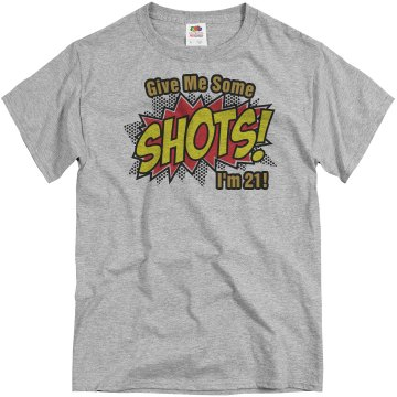 21st Birthday Shots Unisex Basic Gildan Heavy Cotton Crew Neck Tee