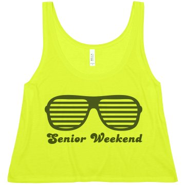 Neon Senior Weekend w/Bck Misses American Apparel Neon Oversized Crop Tank