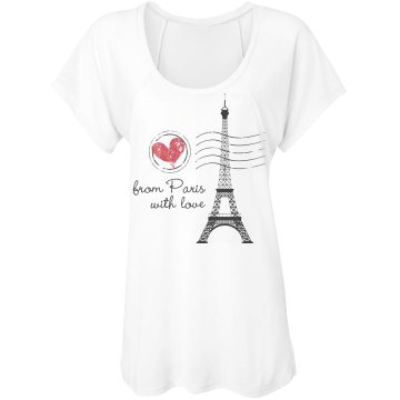Love From Paris Misses Bella Flowy Lightweight Raglan Tee