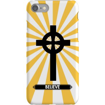 Believe Cross Christian Plastic iPhone 5 Case White