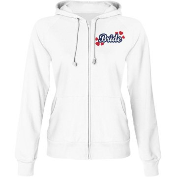 Bride Hearts Hoodie Junior Fit Bella Fleece Raglan Zip Hoodie