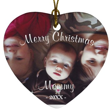 Happy Holidays Mommy Porcelain Heart Ornament