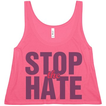 Stop The Hate & Bullying Misses American Apparel Neon Oversized Crop Tank