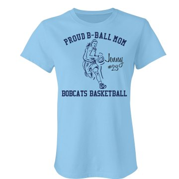 Basketball Mom Pride Junior Fit Bella Crewneck Jersey Tee