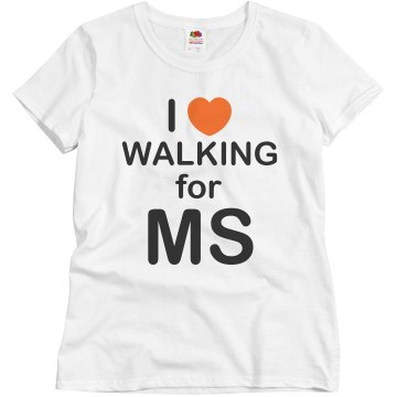 I Heart Walking For MS Misses Relaxed Fit Basic Gildan Heavy Cotton Tee