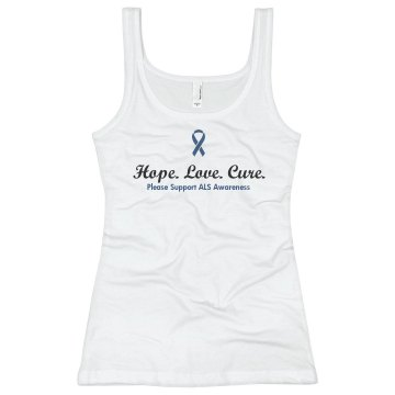 Hope Love Cure ALS Junior Fit Basic Bella 2x1 Rib Tank Top