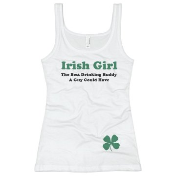 Irish Drinking Buddy Junior Fit Bella Sheer Longer Length Rib Tank Top