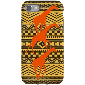 African Giraffe Motif Rubber iPhone 4 & 4S Case Black