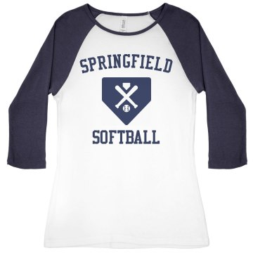 Springfield Softball Junior Fit Bella 1x1 Rib 3/4 Sleeve Raglan Tee