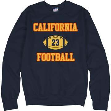 Cali Football Fan w/ Back Unisex Hanes Crew Neck Sweatshirt