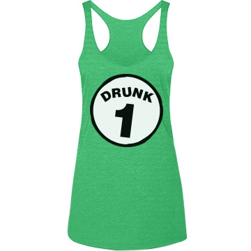Drunk 1 Junior Fit Bella Longer Length 1x1 Rib Tank Top