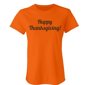 Happy Thanksgiving Junior Fit Bella Crewneck Jersey Tee