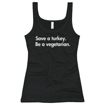 Save A Turkey... Junior Fit Bella Sheer Longer Length Rib Tank Top