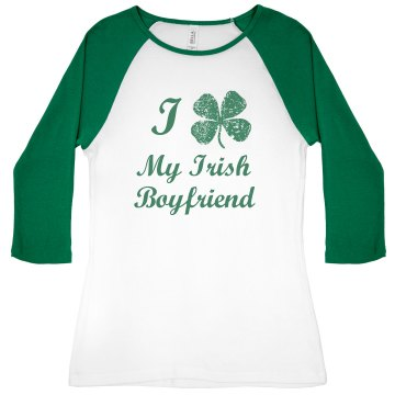 I Heart St Patty's Junior Fit Bella 1x1 Rib Ringer Tee
