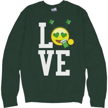 Love St. Patrick's Day Junior Fit Bella 1x1 Rib Ringer Tee