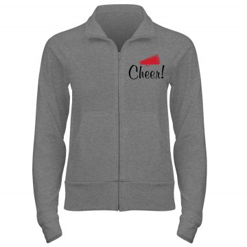 Rhinestone Cheer Hoodie Junior Fit Bella Cadet Zip Track Jacket