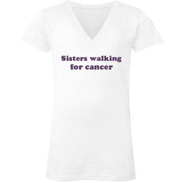 Sisters For Cancer Junior Fit Bella Sheer Longer Length Rib V-Neck Tee