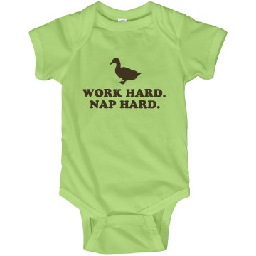 Work Hard Nap Hard Infant Rabbit Skins Lap Shoulder Creeper