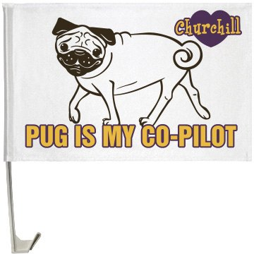 Pet Pug Flag One-Sided Driver Side Car Flag