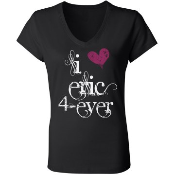 I Heart Eric Tee Junior Fit Bella Sheer Longer Length Rib V-Neck Tee