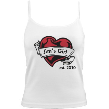 Jim&#x27;s Girl Tank Bella Junior Fit Contrast Satin Trim Cami