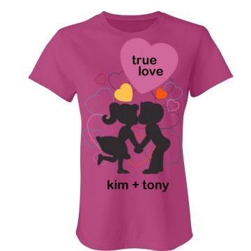 True Love Kiss Tee Junior Fit Bella Sheer Longer Length Rib Tee