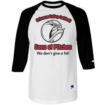 Softball Team Pitches Tee Unisex Champion Raglan Baseball Tee