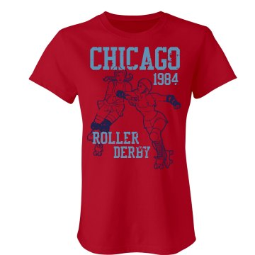 Roller Derby 1984 Junior Fit Bella Sheer Longer Length Rib Tee