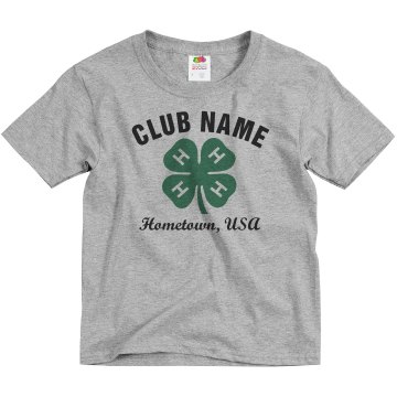 4-H Youth Club Design Youth Basic Gildan Ultra Cotton Crew Neck Tee
