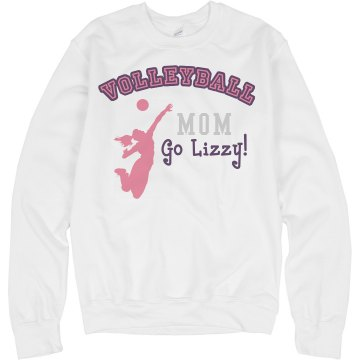 Volleyball Mom Rhinestone Unisex Hanes Crew Neck Sweatshirt