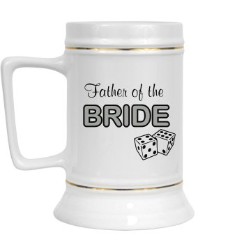 Father Of The Bride 28oz Gold Trim Ceramic Stein