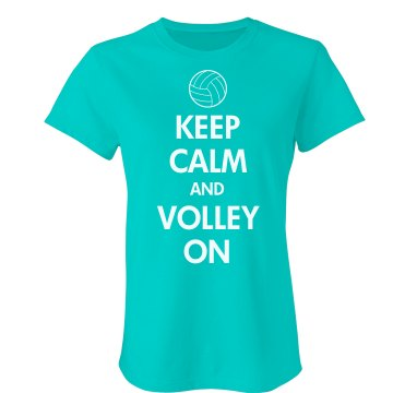 Keep Calm & Volley On Misses Relaxed Fit Anvil V-Neck Tee