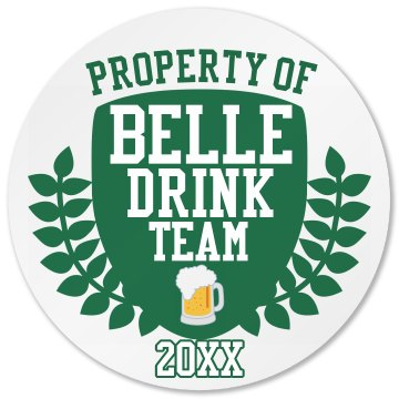 Bell Drink Team Round Plastic Coaster with Cork Back
