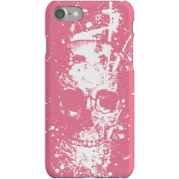 Pink Skull Graffiti Plastic iPhone 5 Case Black