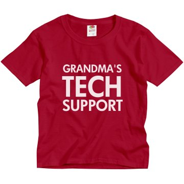 Grandma's Tech Support Youth Gildan Ultra Cotton Crew Neck Tee