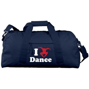 I Love Dance Bag Port & Company Large Square Duffel Bag
