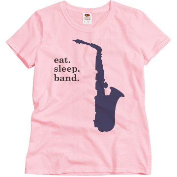 Eat Sleep Band  Misses Relaxed Fit Basic Gildan Ultra Cotton Tee