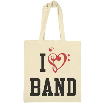 I Love Band  Liberty Bags Canvas Tote