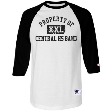 Property Of Band  Unisex Anvil 3/4 Sleeve Raglan Baseball Tee