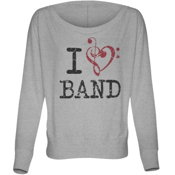 I Love Band Music Note  Junior Fit Bella Sheer Longer Length Rib Tee