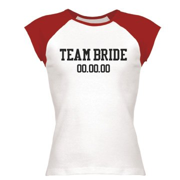 Team Bride w&#x2F; Date Junior Fit Bella 1x1 Rib Cap Sleeve Raglan Tee