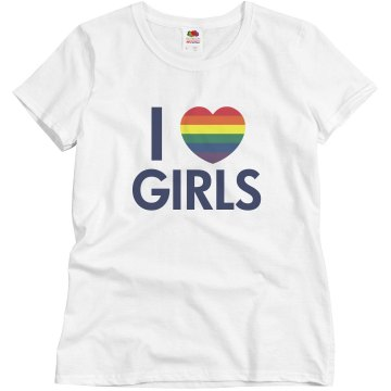 I Love Girls Rainbow Misses Relaxed Fit Basic Gildan Ultra Cotton Tee